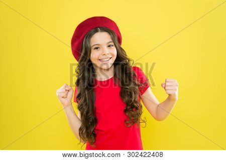 Lucky And Beautiful. Kid Girl Long Healthy Shiny Hair Wear Red Hat. Little Girl With Long Hair. Kid