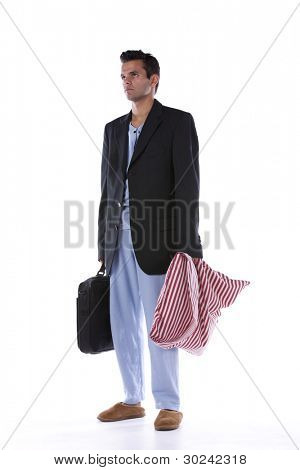 Businessman dress with nightclothes (isolated on white)