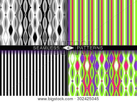 Set Of Vector Seamless Patterns. Endless Textures In Black And White Plastic Pink Ufo Green And Prot