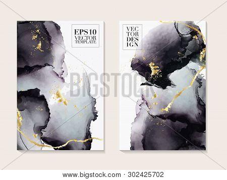 Liquid Flow Dark Grey And Gold Vector Design. Trendy Marble Background, Alcohol Ink  Texture Design