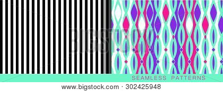 Set Of Vector Seamless Patterns. Endless Textures In Black And White Blue Plastic Pink And Proton Pu