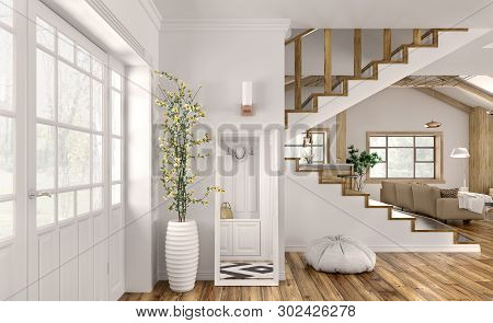 Modern Interior Design Of Hall, Living Room With Staircase 3d Rendering