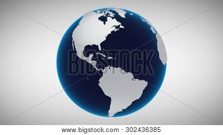 Motion Earth Isolated Business Concept Background. Planet Map Rotation Universe Zoom Celestial Object Digital Continents Surface. Global Technology Deep Outer Space Exploration 3D Rendering Animation