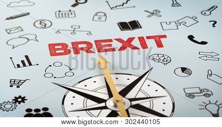 A Compass With Text And Icons - Brexit