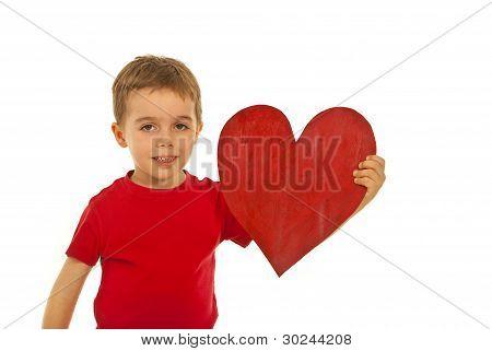 Boy Holding Big Heart