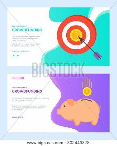 Crowdfunding Vector, Pig For Money Saving Investments And Target With Arrow Hit In Bullseye. Golden