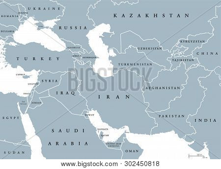 Southwest Asia, Political Map With Borders. Also Called Western, West Or Southwestern Asia. Subregio