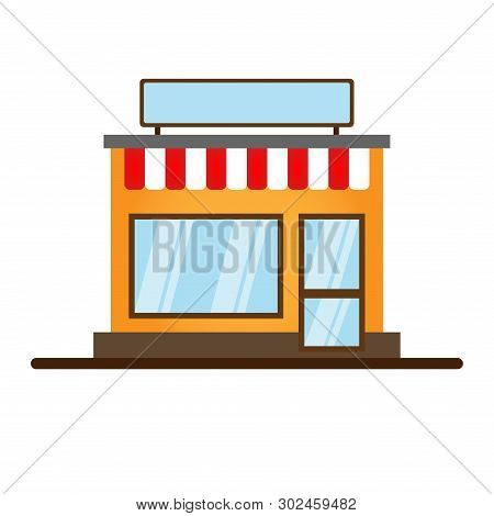 Set Of Vector Flat Design Restaurants And Shops Facade Icons.includes Shop,newspaper,coffee Shop,ice
