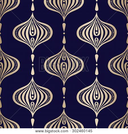 Classic Golden Handdrawn Ogee Vector Seamless Pattern. Oriental Elegant Luxury Traditional Backgroun