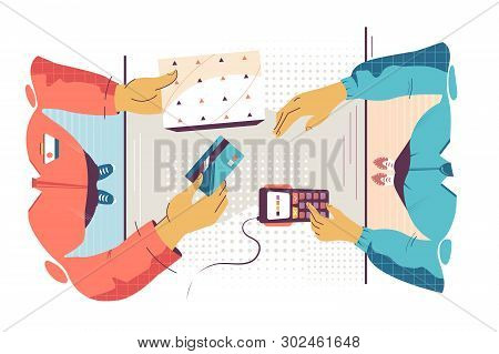 Flat Young Man Employee Calculates Cost Of Purchase. Concept Customer And Businessman Characters Wit