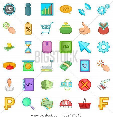 Money Equivalent Icons Set. Cartoon Set Of 36 Money Equivalent Icons For Web Isolated On White Backg