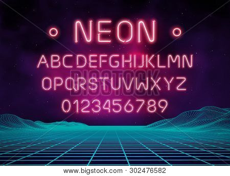 Light Neon Font Letter Set. Bar Sign Vector Type. Glowing Casino And Cinema Red Text Alphabet On Bri