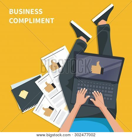 Business Compliment Concept. Man Sitting On The Floor And Holding Lap Top With Thumb Up Hand. Flat V