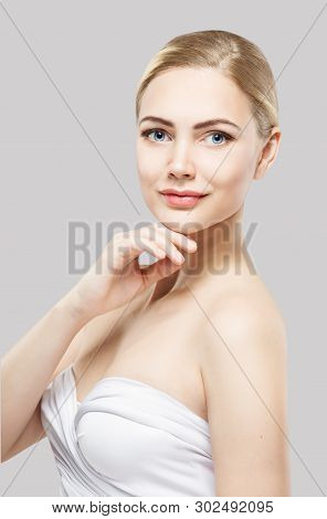 Beauty Skin Care, Woman Face Natural Makeup, Fashion Model Isolated Over White Background, Hand Unde