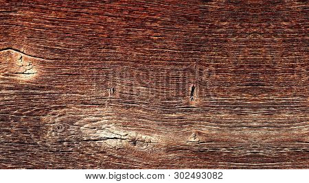 Texture Of Old Woody Surface With Knots In Panoramic Format.