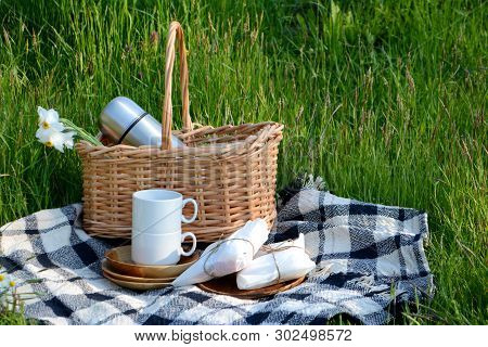 Picnic In The Park On The Green Grass. Picnic Basket And Blanket.  Tableware For Picnic. Summer Holi