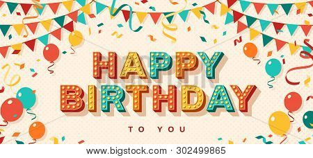 Happy Birthday Greeting Card With Retro Typography Design. Vector Illustration. 3d Colorful Letters