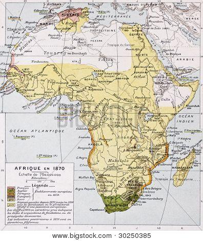 Africa in 1870 old map. By Paul Vidal de Lablache, Atlas Classique, Librerie Colin, Paris, 1894 poster