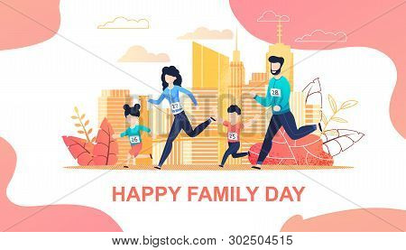 Family Running Marathon In City Flat Cartoon. Mother, Father, Son Daughter Jogging Together. Active