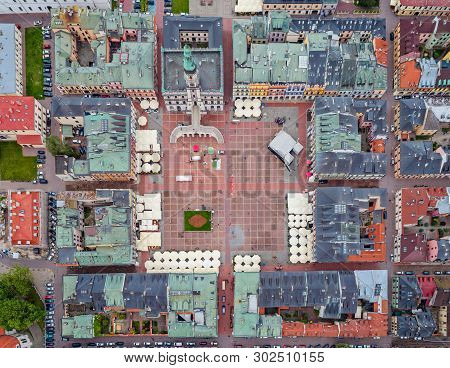 Aerial Drone View On Zamosc Old Town And City Main Square With Town Hall
