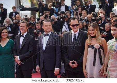Leonardo DiCaprio, Margot Robbie,  Quentin Tarantino, Brad Pitt attend the screening of