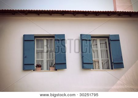Vintage, Windows With Blue Shutters