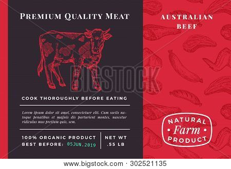 Premium Quality Meat Abstract Vector Beef Packaging Design Or Label. Modern Typography And Hand Draw