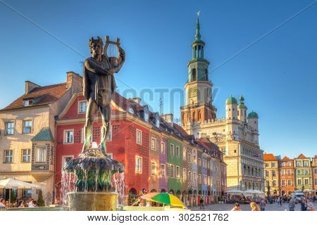 Poznan, Poland - September 8, 2018: Apollo fountain on the Main Square in Poznan, Poland. Poznan is a city at the Warta River in west central Poland