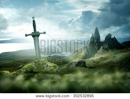 An Ancient And Mythical Sword Set Against A Dramatic Landscape. Fantasy Background 3d Mixed Media.