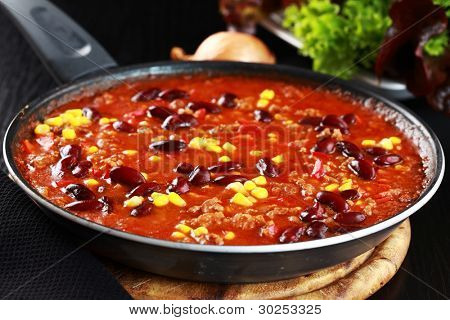 Chilli con carne cooked in the pan