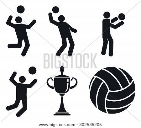 Volleyball Icons Set. Simple Set Of Volleyball Vector Icons For Web Design On White Background