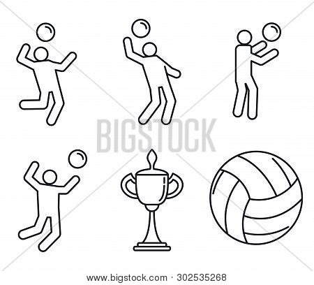 Volleyball Sport Icons Set. Outline Set Of Volleyball Sport Vector Icons For Web Design Isolated On