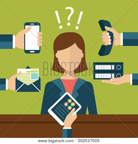 Busy Person At Work Concept. Hard Work Concept. Hands With Smart Phone, Telephone Letter, Documents