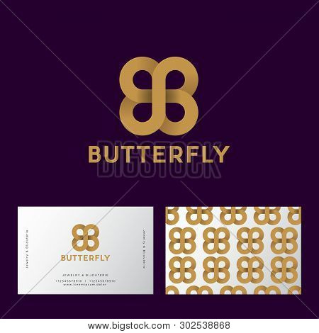 Gold  Butterfly Like Infinity From Ribbon. B And B Monogram On A Dark-purple Background.. Double B L