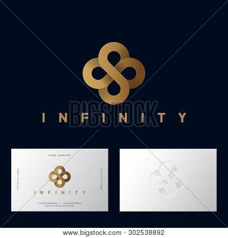 Gold Flower Celtic Ornament Like Infinity From Gold Ribbon. Infinity Logo On Dark-purple Background.