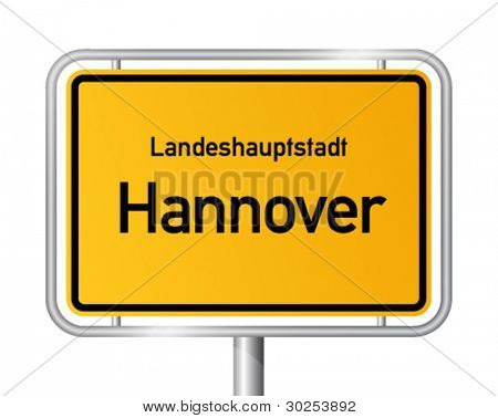 City limit sign HANNOVER (Hanover) against white background - capital of the federal state Lower Saxony - Niedersachsen, Germany