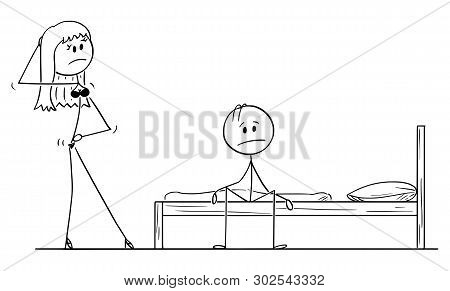 Vector Cartoon Stick Figure Drawing Conceptual Illustration Of Frustrated Impotent Man Sitting On Be