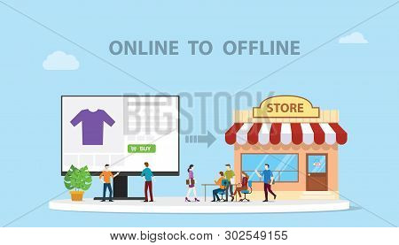 O2o Online To Offline E-commerce New Concept Technology With Store And Website Online Modern Style I