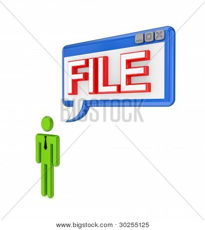 3d small person and PC window with a word FILE.