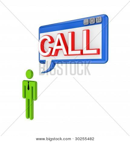 3d small person and PC window with a word CALL.