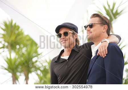Brad Pitt and Leonardo DiCaprio attend thephotocall for