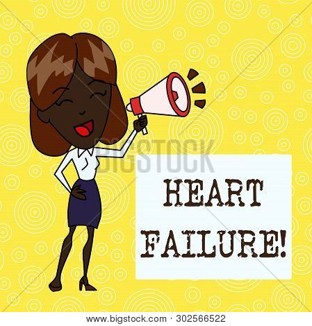Handwriting Text Heart Failure. Concept Meaning The Severe Failure Of The Heart To Function Properly