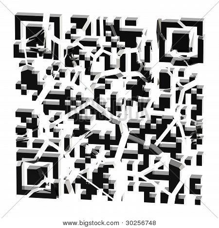 QR code broken into black pieces isolated