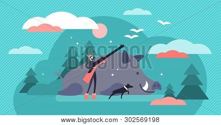Hunting Vector Illustration. Flat Tiny Animal Shooting Gun Persons Concept. Wildlife Predator Killin