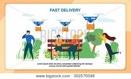 Cartoon People Recieve Mail Package. Fast Delivery Vector Illustration. Air Dron Shipping, Quadcopte