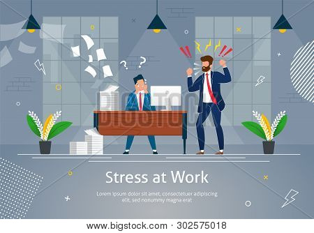 Boss Man Character Screaming On Worker Banner Vector Illustration. Stressed Cartoon Person In Desper