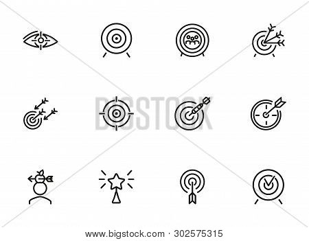 Targets Line Icon Set. Accomplished Goal, Archery Range, Award Winning. Goal Concept. Can Be Used Fo