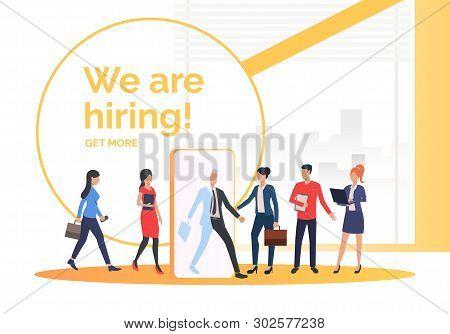Company Hiring Job Applicants. Hr, Headhunting, Hiring Concept. Presentation Slide Template. Vector