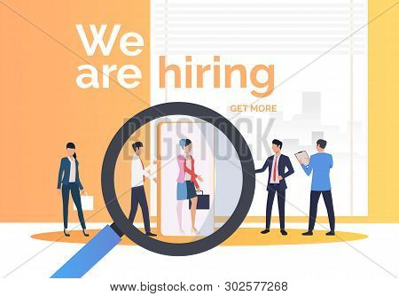 Company Hiring Job Candidates. Hr, Headhunting, Hiring Concept. Presentation Slide Template. Vector