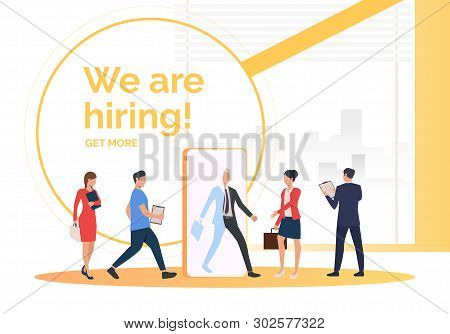 Employment Agency Searching For Job Applicants. Hr, Headhunting, Hiring Concept. Presentation Slide